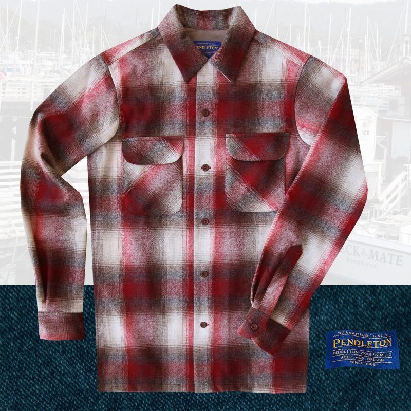 画像1: ペンドルトン ウールシャツ ビンテージフィット ボードシャツ クラレット・タン/Pendleton Vintage Fit Board Shirt