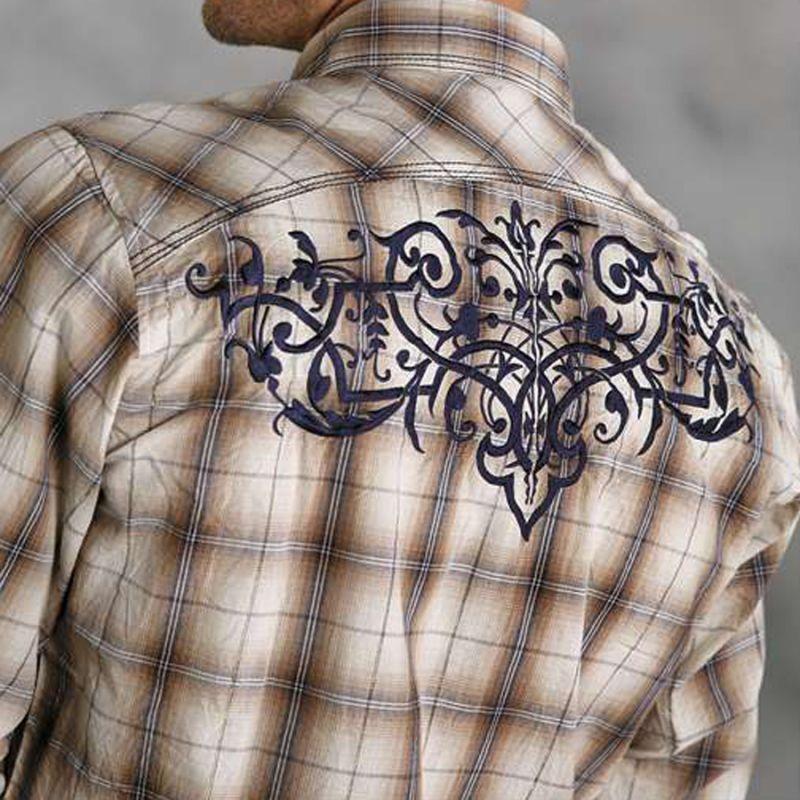 画像1: ウエスタン刺繍シャツ(長袖/ブラウン・ネイビー)/Long Sleeve Embroidered Western Shirt