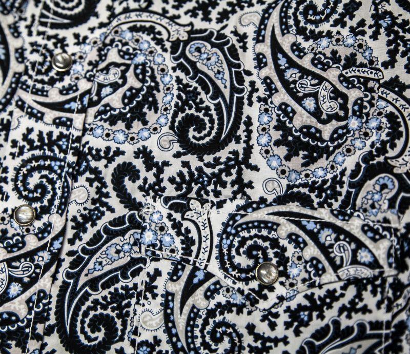 画像2: パンハンドルスリム ラフストック 半袖 ウエスタン シャツ ホワイト・ブルー/ Rough Stock by Panhandle Slim Short Sleeve Western Shirt