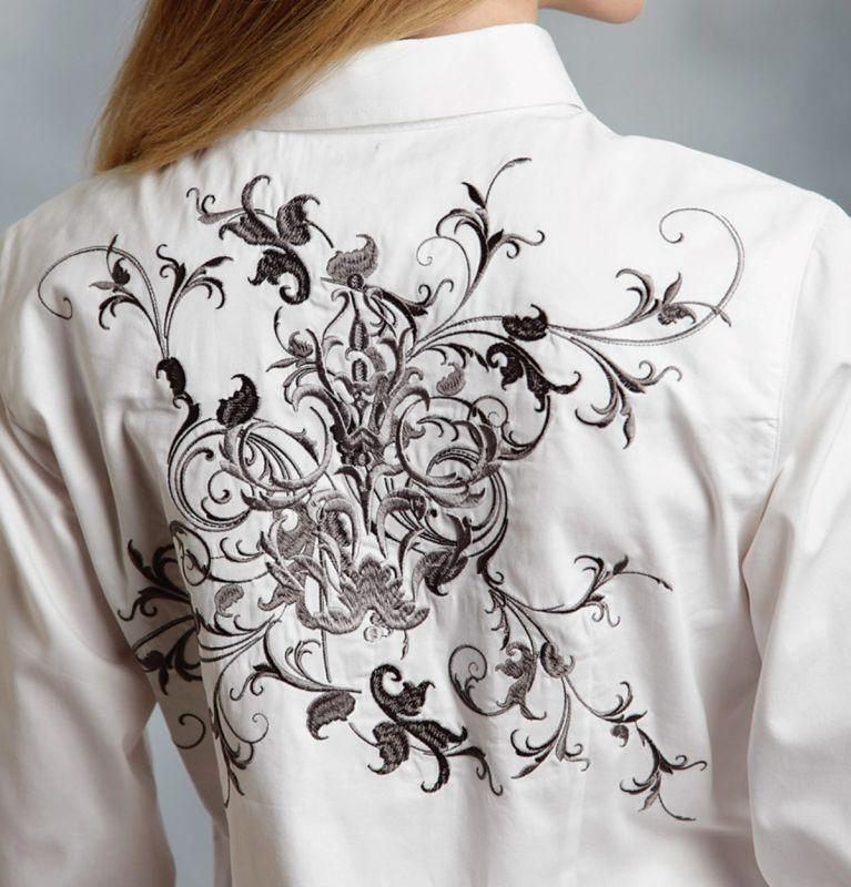 画像3: ローパー ウエスタン 刺繍 カウガールシャツ ホワイト(長袖)/Roper Long Sleeve Western Shirt(Women's)