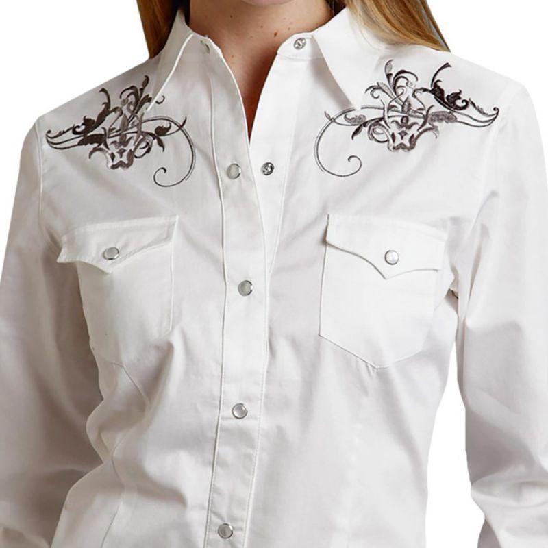 画像2: ローパー ウエスタン 刺繍 カウガールシャツ ホワイト(長袖)/Roper Long Sleeve Western Shirt(Women's)