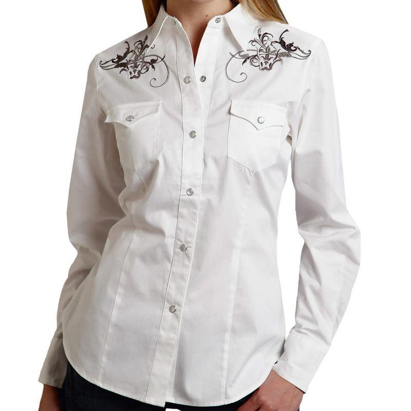 画像1: ローパー ウエスタン 刺繍 カウガールシャツ ホワイト(長袖)/Roper Long Sleeve Western Shirt(Women's)