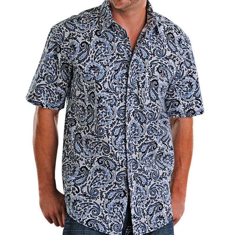 画像1: パンハンドルスリム ラフストック 半袖 ウエスタン シャツ ホワイト・ブルー/ Rough Stock by Panhandle Slim Short Sleeve Western Shirt