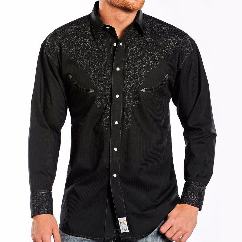 画像1: パンハンドルスリム ペイズリーステッチ ウエスタン シャツ(長袖・ブラック)/Panhandle Slim Long Sleeve Western Shirt (1)