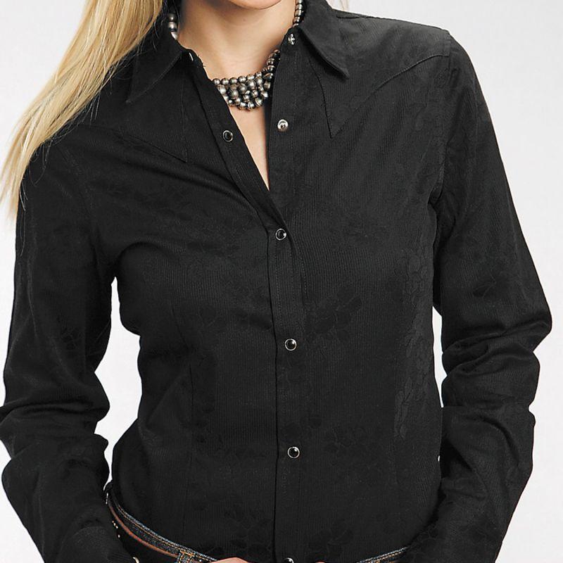 画像2: ステットソン フローラル ジャガード ウエスタンシャツ ブラック(長袖)/Stetson Long Sleeve Western Shirt(Women's)
