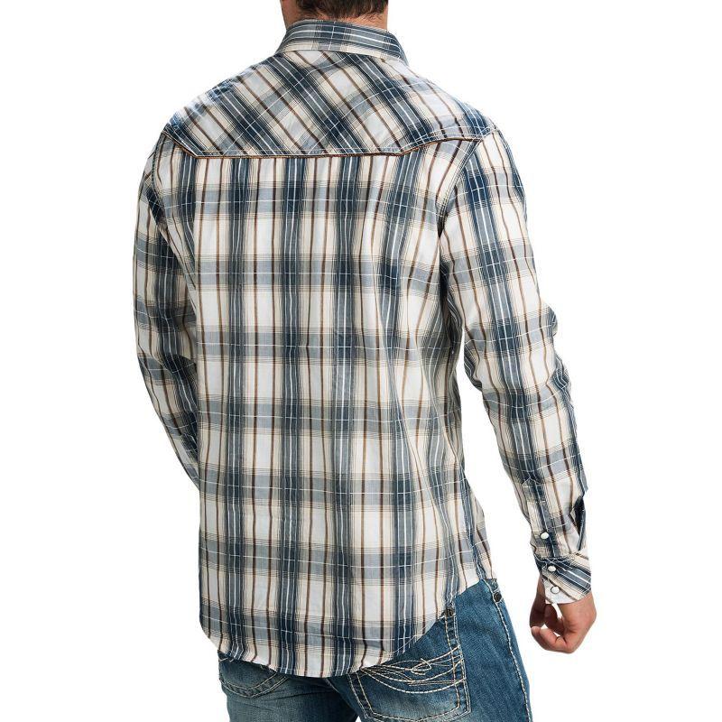 画像3: ロックンロールカウボーイ ステッチ ウエスタンシャツ ブルー・ブラウン(長袖)/Panhandle Slim Long Sleeve Western Shirt