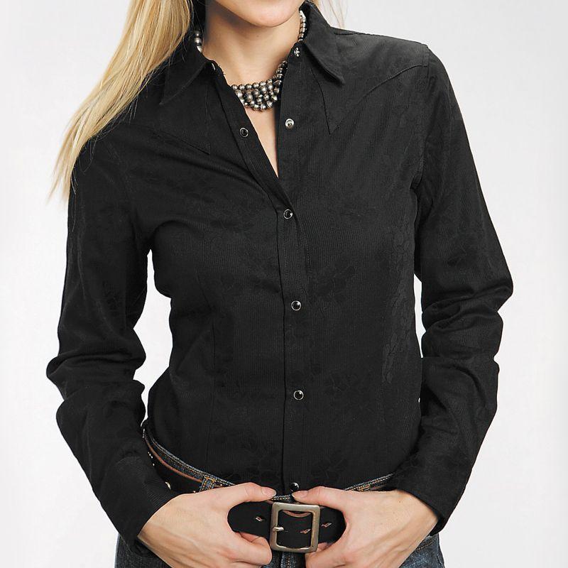 画像1: ステットソン フローラル ジャガード ウエスタンシャツ ブラック(長袖)/Stetson Long Sleeve Western Shirt(Women's)