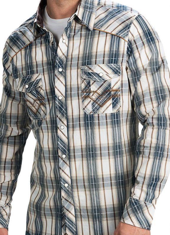 画像2: ロックンロールカウボーイ ステッチ ウエスタンシャツ ブルー・ブラウン(長袖)/Panhandle Slim Long Sleeve Western Shirt