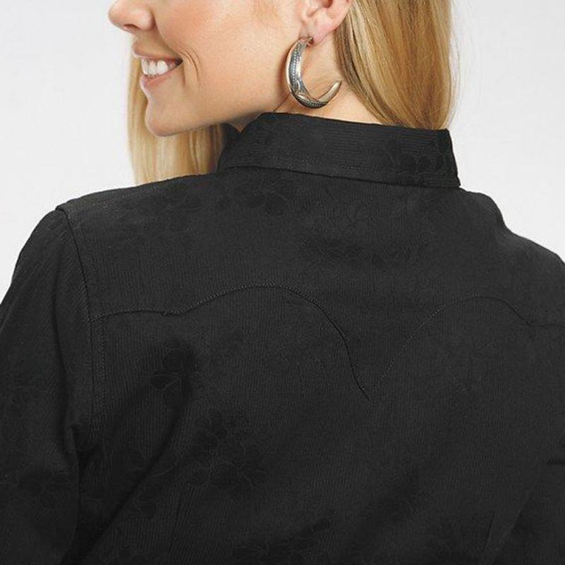 画像3: ステットソン フローラル ジャガード ウエスタンシャツ ブラック(長袖)/Stetson Long Sleeve Western Shirt(Women's)