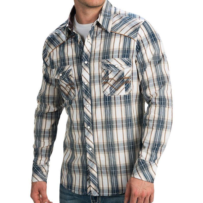 画像1: ロックンロールカウボーイ ステッチ ウエスタンシャツ ブルー・ブラウン(長袖)/Panhandle Slim Long Sleeve Western Shirt