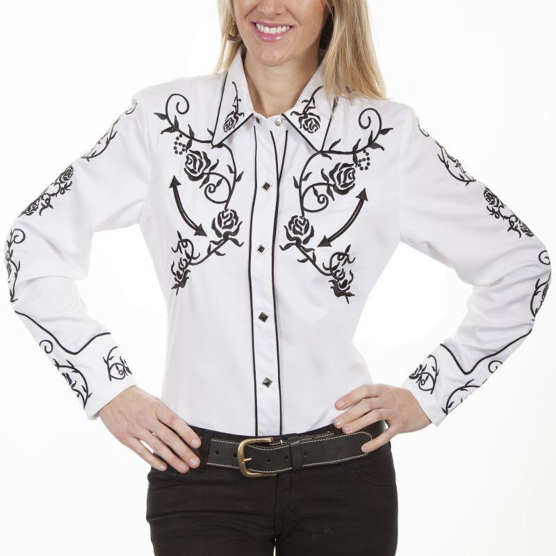 画像1: スカリー 刺繍 ウエスタン シャツ(長袖/ホワイト ブラック・ローズ)/Scully Long Sleeve Western Shirt(Women's)