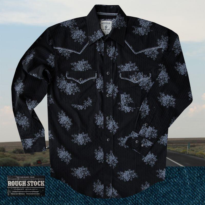 画像1: パンハンドルスリム ラフストック ウエスタンシャツ(ブラック/長袖)/Rough Stock Long Sleeve Western Shirt by Panhandle Slim(Black)