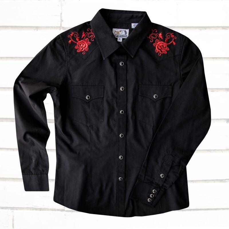 画像1: パンハンドルスリム ローズ刺繍 ウエスタンシャツ ブラック・レッド(レディース・長袖)/Panhandle Slim Long Sleeve Western Shirts Black/Red(Women's)
