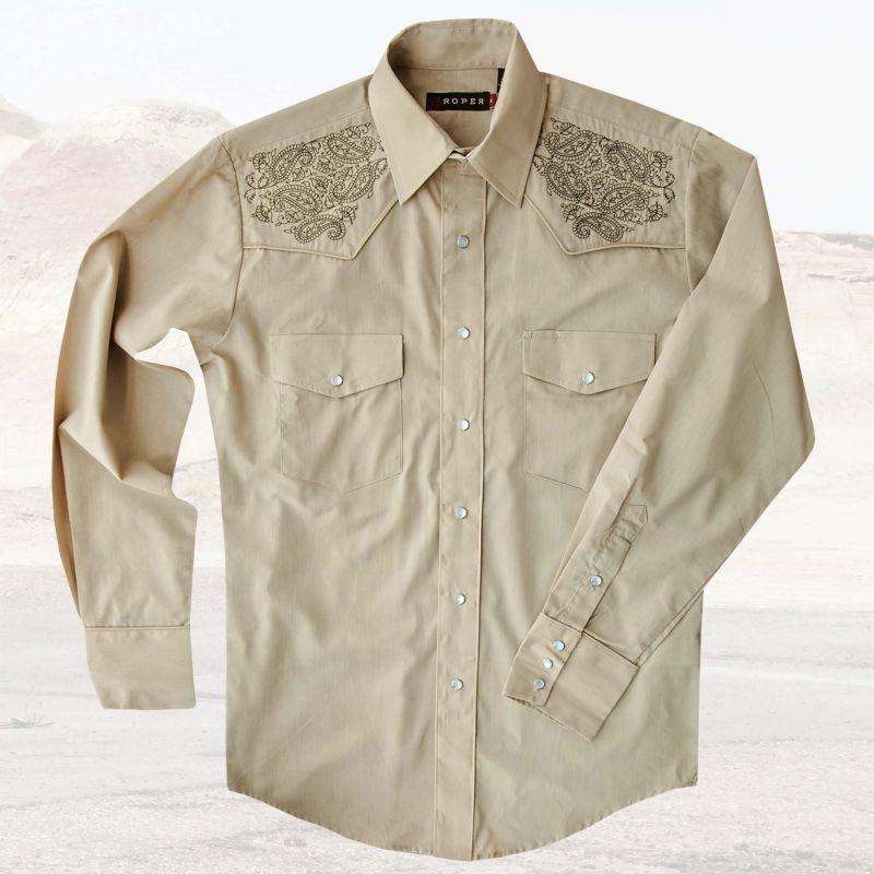 画像1: ローパー 刺繍 ウエスタンシャツ タン(長袖)/Roper Long Sleeve Western Shirt