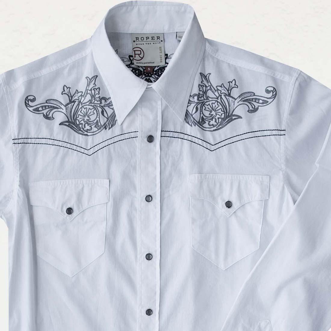 画像1: ローパー ウエスタン 刺繍シャツ ホワイト(長袖)L/Roper Long Sleeve Western Shirt (1)