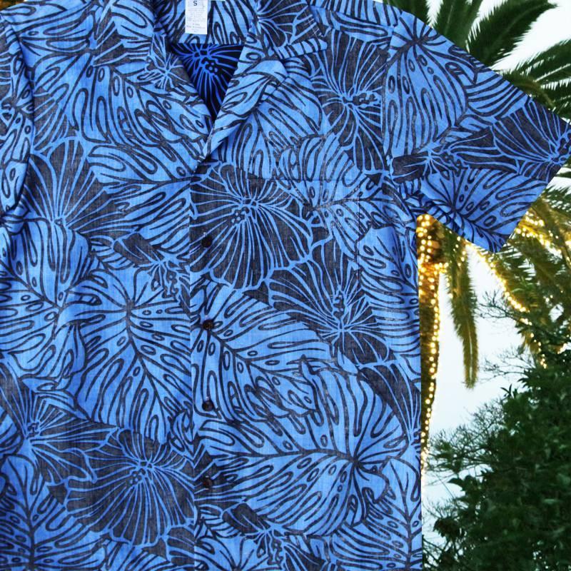 画像1: アロハシャツ リバースプリント(ブルー・ブラック)/Aloha Shirt (1)