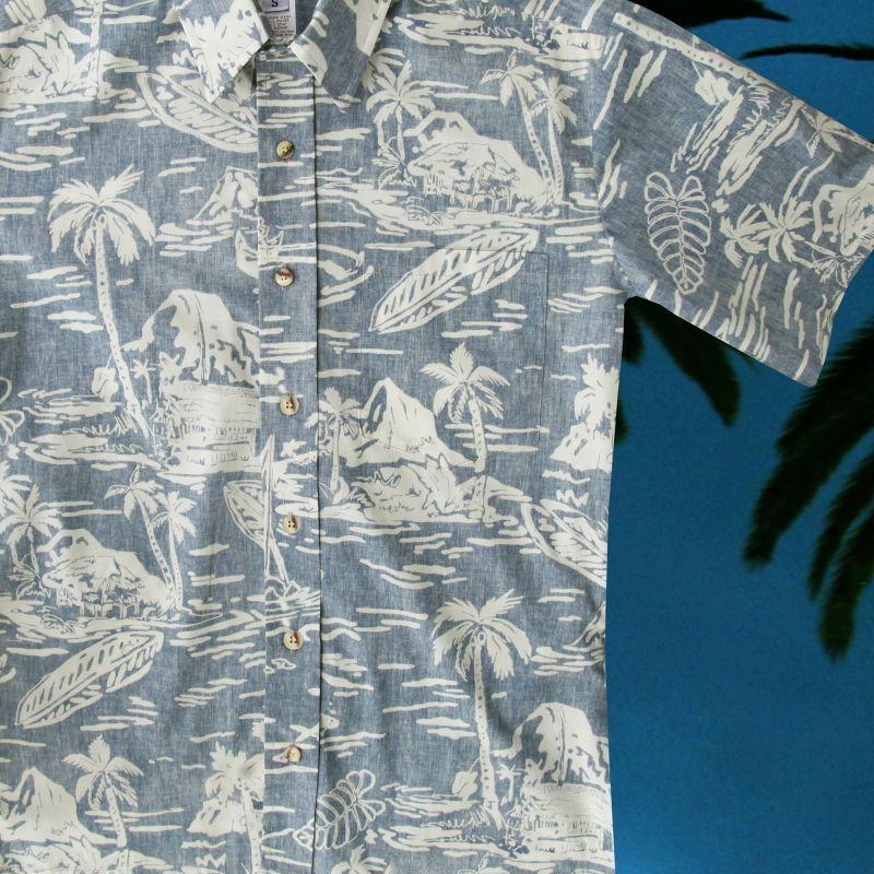 画像1: RJC ロバート・J・クランシー ハワイアン シャツ リバースプリント(ライトブルー・ホワイト)/RJC Hawaiian Shirt