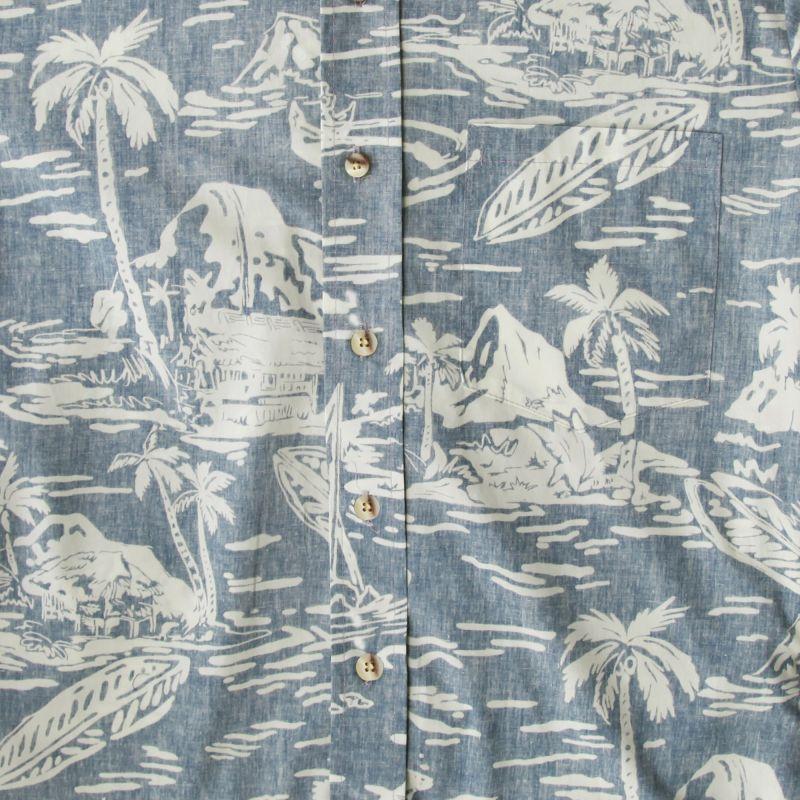 画像3: RJC ロバート・J・クランシー ハワイアン シャツ リバースプリント(ライトブルー・ホワイト)/RJC Hawaiian Shirt
