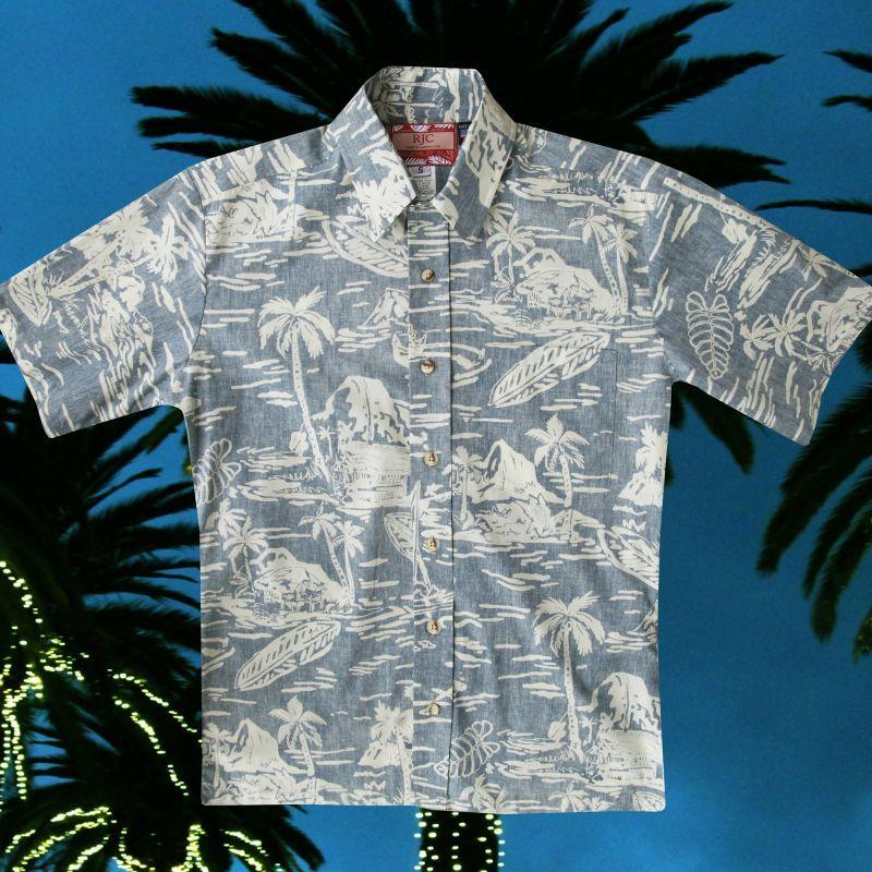 画像2: RJC ロバート・J・クランシー ハワイアン シャツ リバースプリント(ライトブルー・ホワイト)/RJC Hawaiian Shirt