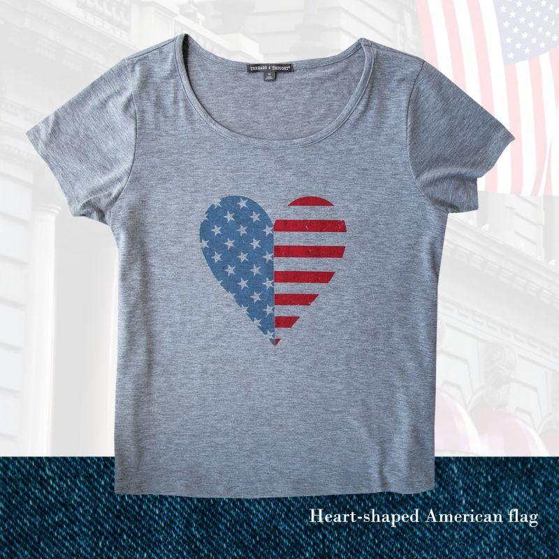 画像1: アメリカンフラッグ ハート レディース 半袖Tシャツ(グレー)/Women's Short Sleeve T-shirt(Grey) (1)