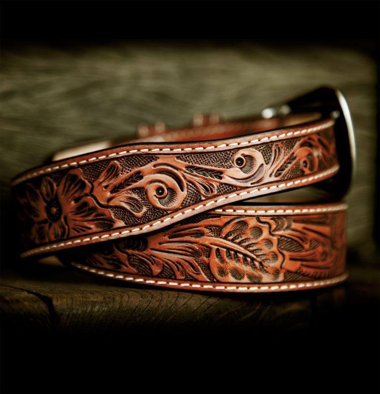 画像2: フローラル テーパード ウエスタン レザーベルト(ブラウン)/Western Leather Belt(Brown)