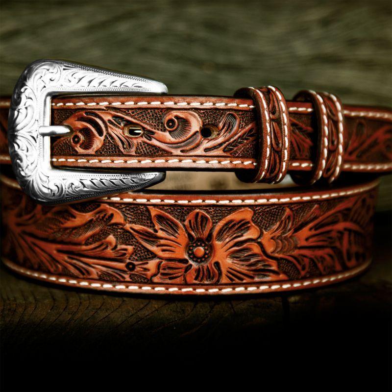 画像1: フローラル テーパード ウエスタン レザーベルト(ブラウン)/Western Leather Belt(Brown)