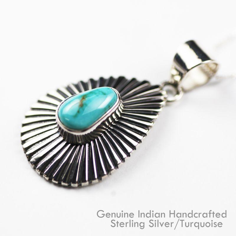 画像1: ネイティブアメリカン ナバホ族 ターコイズ&スターリングシルバー ネックレス/Navajo Handmade Turquoise&Sterling Silver Necklace (1)