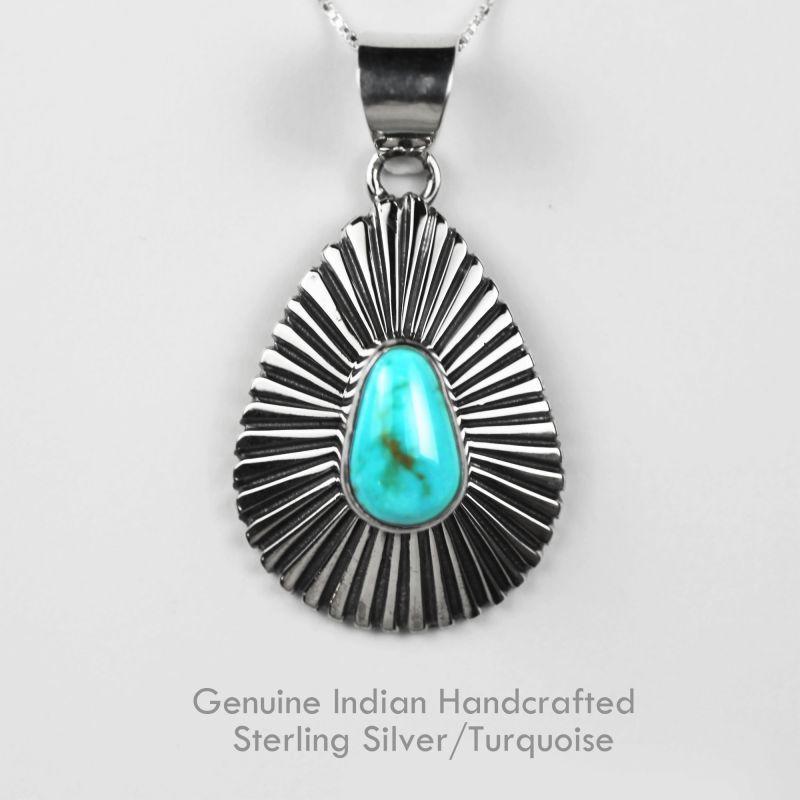 画像2: ネイティブアメリカン ナバホ族 ターコイズ&スターリングシルバー ネックレス/Navajo Handmade Turquoise&Sterling Silver Necklace