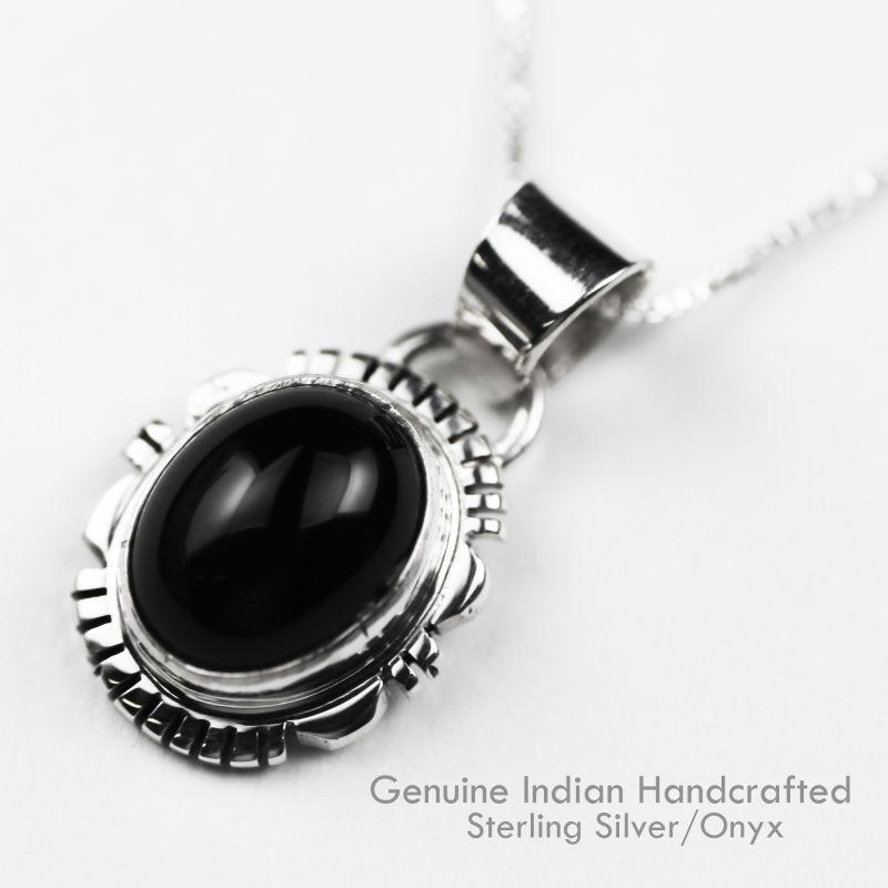 画像1: ナバホ オニキス&スターリングシルバー ネックレス/Navajo Handmade Onyx&Sterling Silver Necklace