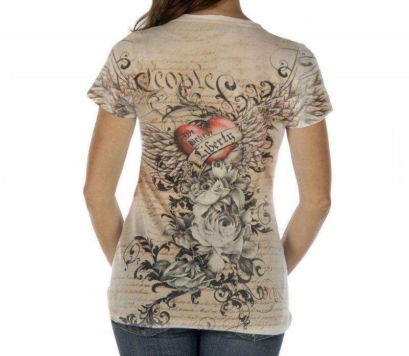 画像2: リバティーウエア ラインストーン ハート&ローズ 半袖Tシャツ(マルチ)/Liberty Wear Short Sleeve T-shirt(Women's)