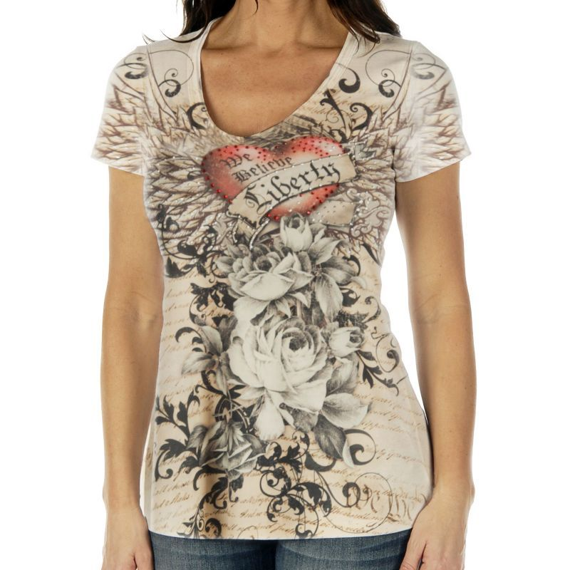 画像1: リバティーウエア ラインストーン ハート&ローズ 半袖Tシャツ(マルチ)/Liberty Wear Short Sleeve T-shirt(Women's)