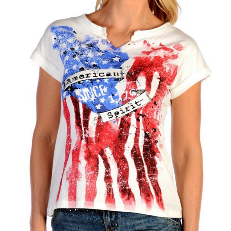 画像1: リバティーウエア アメリカンスピリット 星条旗デザイン 半袖Tシャツ(ホワイト)/Liberty Wear Short Sleeve T-shirt(Women's) (1)