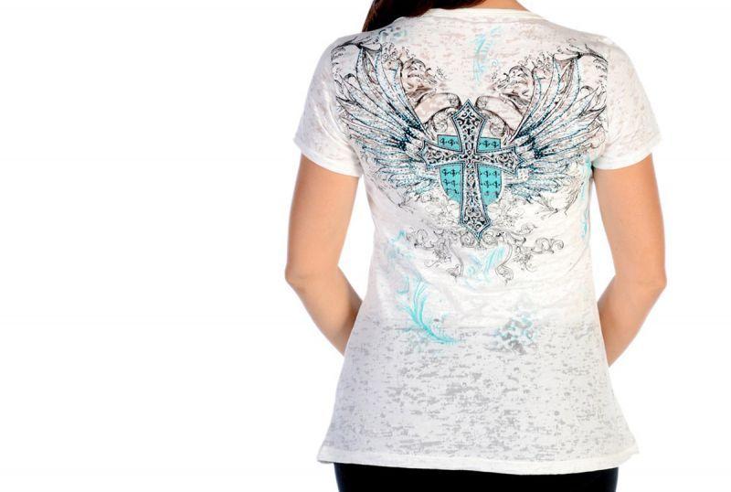画像3: リバティーウエア ターコイズラインストーン 半袖Tシャツ(ホワイト)/Liberty Wear Short Sleeve T-shirt(Women's)