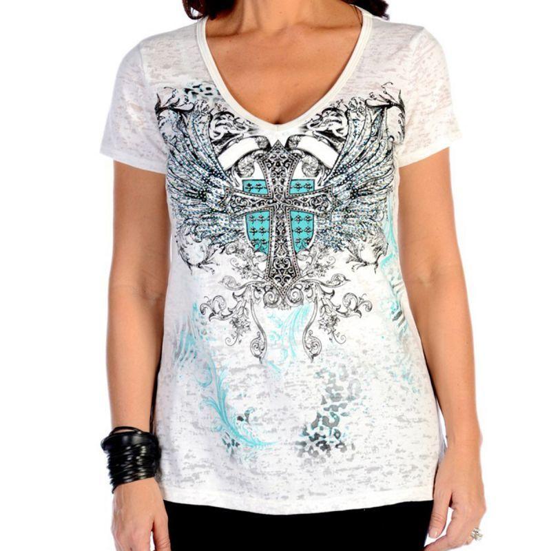 画像1: リバティーウエア ターコイズラインストーン 半袖Tシャツ(ホワイト)/Liberty Wear Short Sleeve T-shirt(Women's)