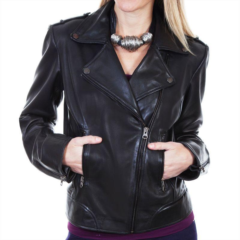 画像1: スカリー レディース ラムレザー モーターサイクル ジャケット(ブラック)/Scully Soft Touch Lamb Motorcycle Jacket(Black) (1)