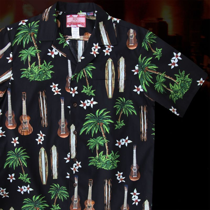 画像1: RJC ロバート・J・クランシー アロハシャツ ウクレレ・パームツリー・サーフボード(ブラック)/RJC ROBERT J. CLANCEY Aloha Shirt (1)