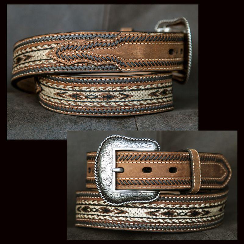 画像1: ホースヘアー レザーベルト(ブラウン)/Horse Hair Leather Belt(Brown) (1)