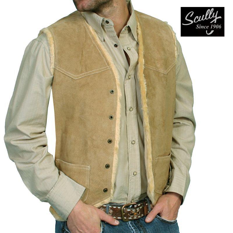 画像1: スカリー スナップフロント ボアスエード ベスト(タバコ)S/Scully Boar Suede Leather Vest(Tobacco) (1)