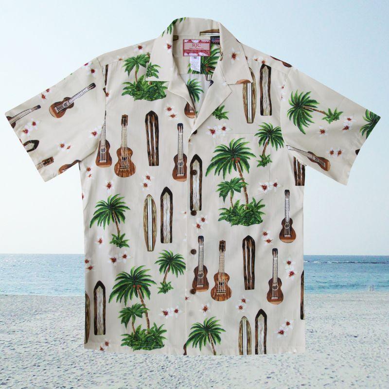 画像2: RJC ロバート・J・クランシー アロハシャツ ウクレレ・パームツリー・サーフボード(アイボリー)/RJC ROBERT J. CLANCEY Aloha Shirt