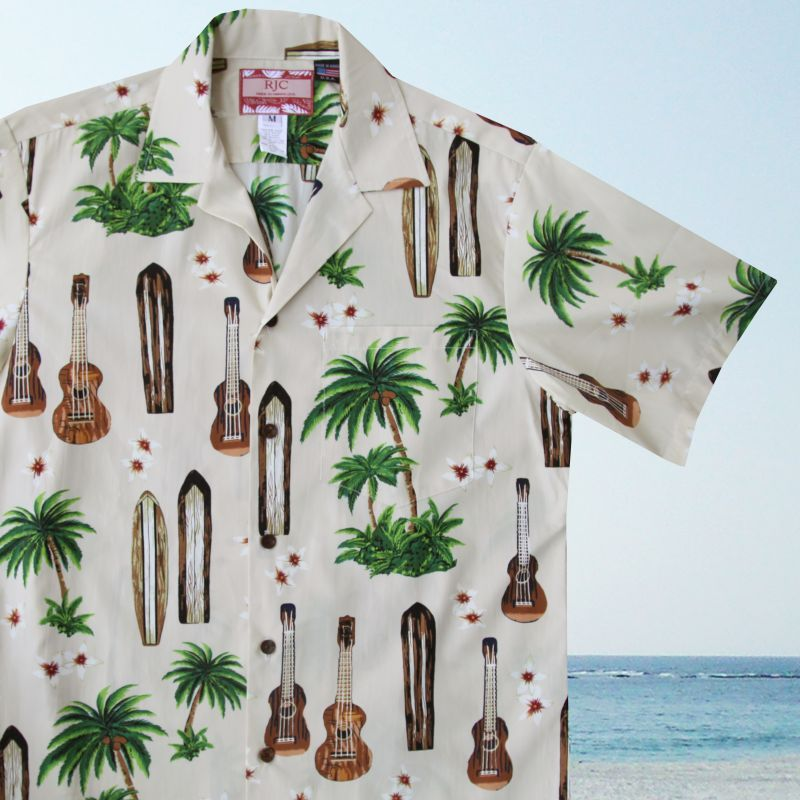 画像1: RJC ロバート・J・クランシー アロハシャツ ウクレレ・パームツリー・サーフボード(アイボリー)/RJC ROBERT J. CLANCEY Aloha Shirt