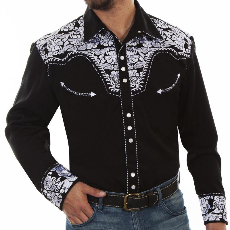 画像1: スカリー ウエスタン 刺繍 シャツ(長袖/ブラック・ホワイト)/Scully Long Sleeve Embroidered Western Shirt(Men's)