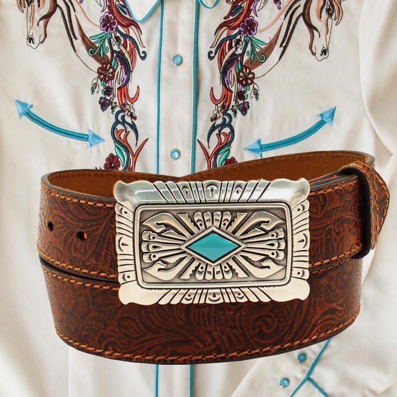 画像2: アリアット ターコイズ・シルバー ウエスタン レザーベルト(ブラウン)/Ariat Western Leaher Belt(Brown)