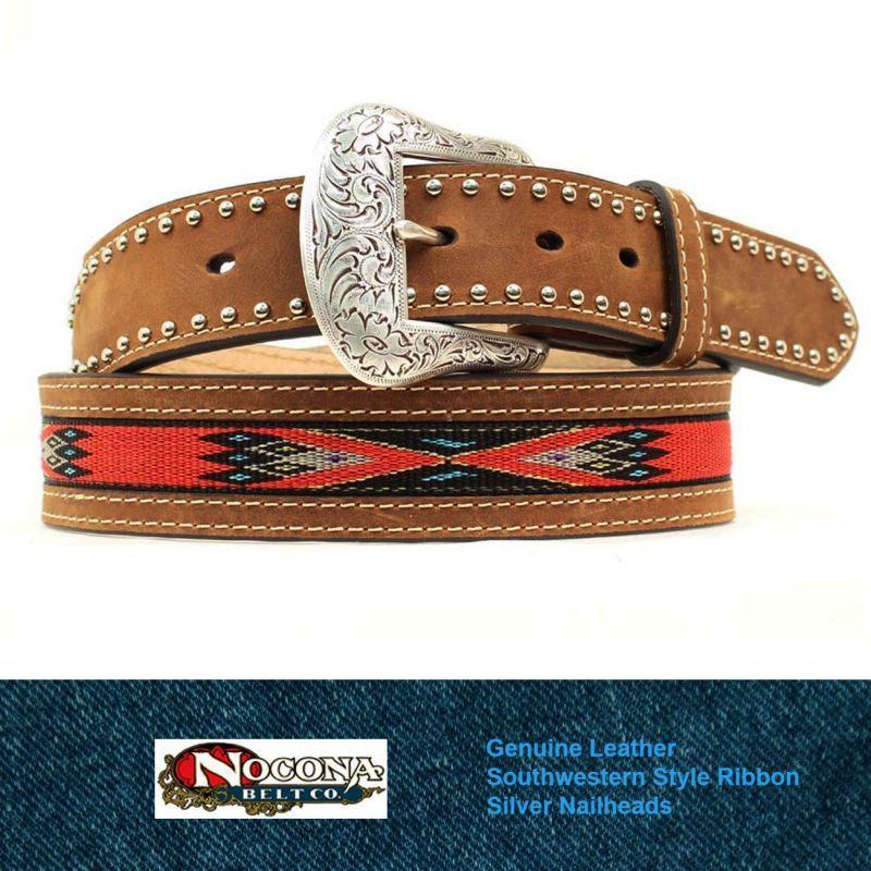 画像1: ノコナ サウスウエストテープ&スタッズ ウエスタン レザーベルト(ブラウン・レッド)/Nocona Western Leather Belt(Brown/Red)
