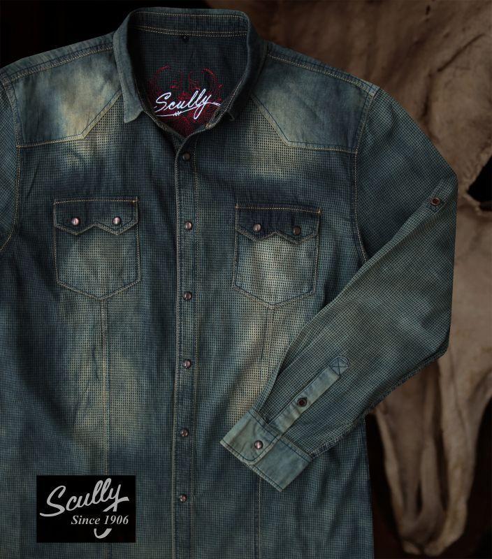 画像2: スカリー ウエスタン デニム シャツ(長袖/デニム)/Scully Long Sleeve Western Shirt(Men's)