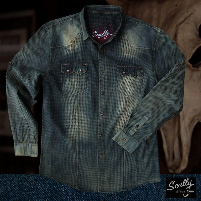 画像1: スカリー ウエスタン デニム シャツ(長袖/デニム)/Scully Long Sleeve Western Shirt(Men's)