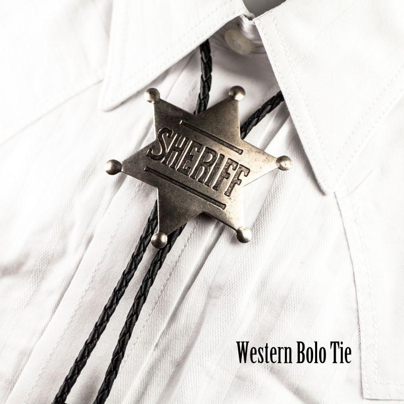 画像2: ボロタイ シェリフ バッジ(アンティークシルバー)/Western Bolo Tie Sheriff Badge