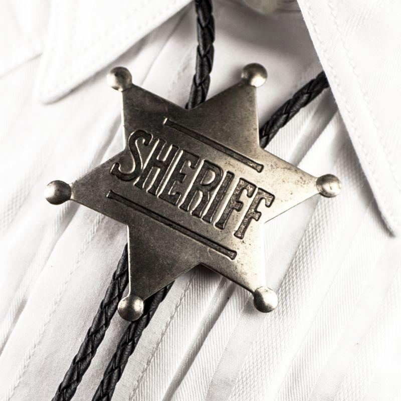 画像1: ボロタイ シェリフ バッジ(アンティークシルバー)/Western Bolo Tie Sheriff Badge