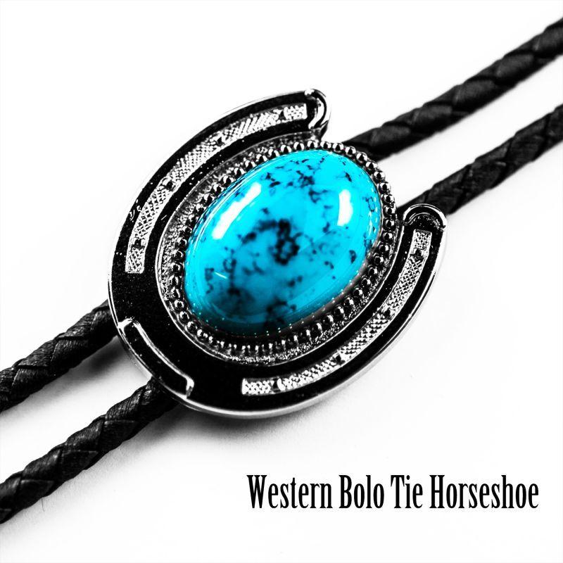 画像1: ウエスタン ボロタイ ホースシュー・ターコイズ/Western Bolo Tie