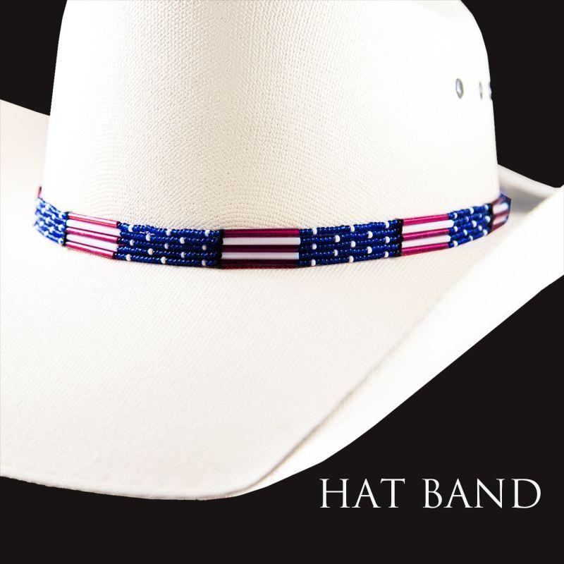 画像1: アメリカンフラッグ ビーズ ハット バンド(レッド・ホワイト・ブルー)/Hat Band