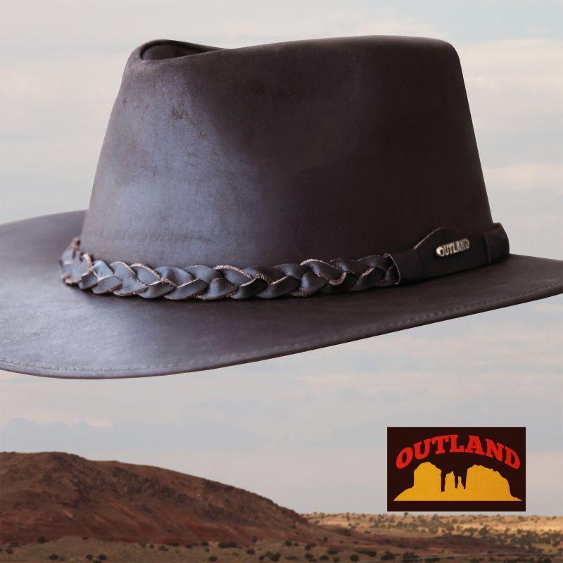 画像1: アウトランド レザー ハット(ブラウン)/Outland Leather Hat(Brown) (1)